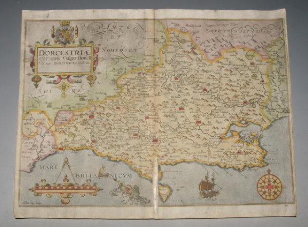 "Image for Original Hand-Coloured Engraved Map of Dorset. ""Dorcestriae. Comitatis Vulgo Dorsett. Vbi olim Durotriges Insederunt."""