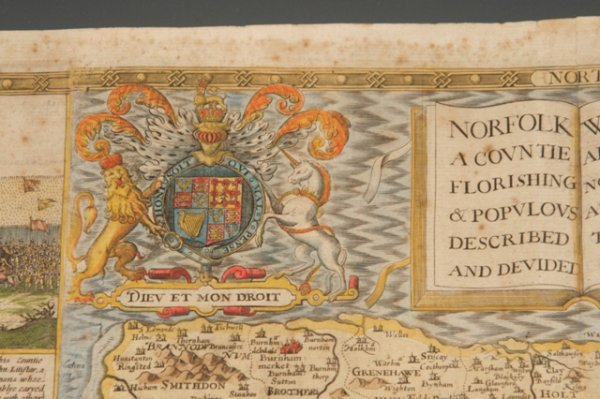 Image for Original Hand-Coloured Engraved Map of Norfolk. Norfolk, A Countie Flourishing & Populous Described and Devided with the Armes of Such Noble Families as Have Borne the Titles Therof.