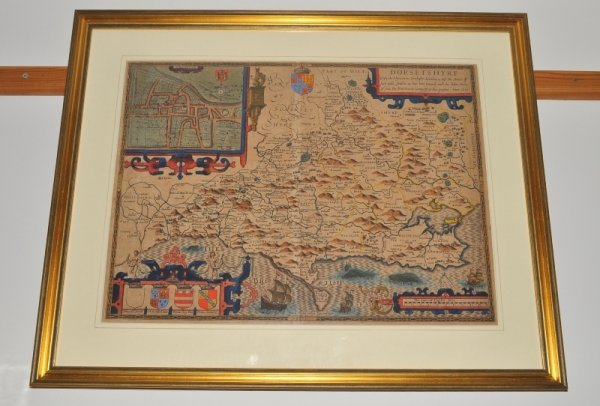 "Image for Original Hand-Coloured Engraved Map of Dorset. Dorsetshyre. ""With the Shyre-towne Dorchester described, as also the Armes of such Noble families as have bene honoured with the Titles there of since the Normans Conquest to this present Anno 1610."