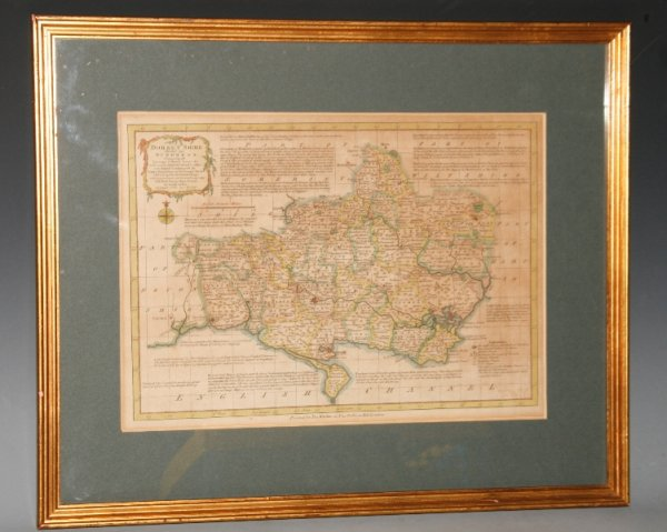 Image for Original Hand Coloured Engraved Antique Map of Dorsetshire. Divided into Hundreds, Containing the Borough and Market Towns &c. With concise historical extracts relative to its Natural Produce, with the trade & manufacturers of the principle towns. Describing also the Church Livings, with improvements not inserted in any other half sheet county maps extant.