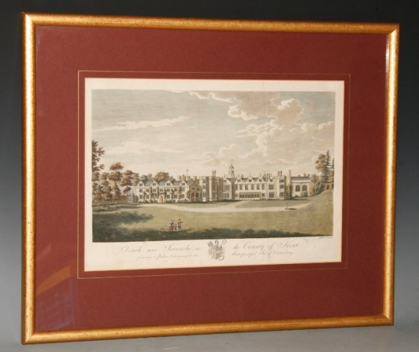 Image for Original Hand Coloured Engraving of Knowle, near Sevenoak, In the County of Kent. Formerly a Palace belonging to the Archiepiscopal See of Canterbury.