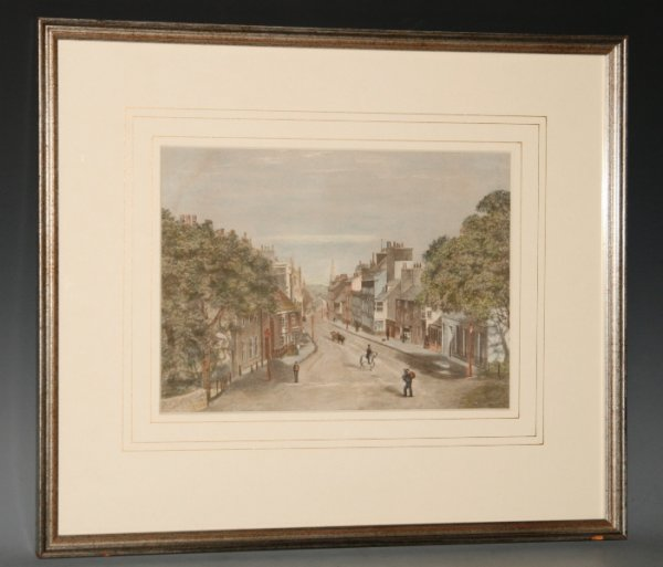 Image for Original Hand Coloured Engraving of Top Of Town, High West Street, Dorchester, Dorset. View from Top O' Town Roundabout (near Hardy's Statue and The Keep) Looking down the Main High Street with Grey's Bridge in the distance.