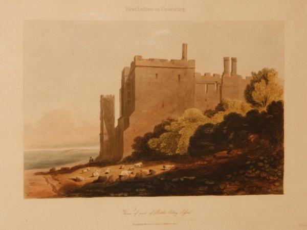 Image for View of Part of Battle Abbey, Sussex. Original Hand Coloured Engraving. First Lesson on Colouring.