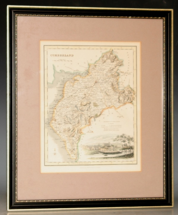 Image for Original Antique Engraved Hand-Coloured Map of Cumberland. With Reference to the Wards, and With a View of Carlisle from the North-East.