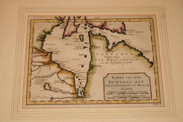 "Image for Karte von der Hudsons Bay. Original Antique Engraved Hand Coloured Map. Canada. Hudson Bay. From ""Allegmeine Historie der Reisen zu Wasser und zu Lande."""