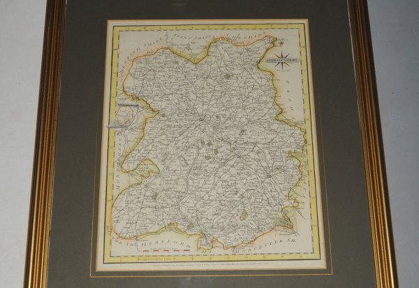 Image for Original Engraved Hand Coloured Map of Shropshire