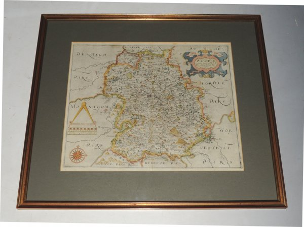 Image for Original Engraved Hand Coloured Map of Shropshire. Salopiae.