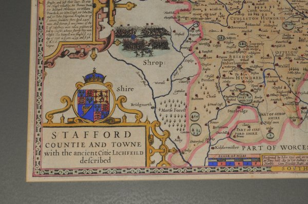 Image for Original Engraved Hand Coloured Map of Stafford. Countie and Towne with the Ancient Citie LITCHFIELD described.