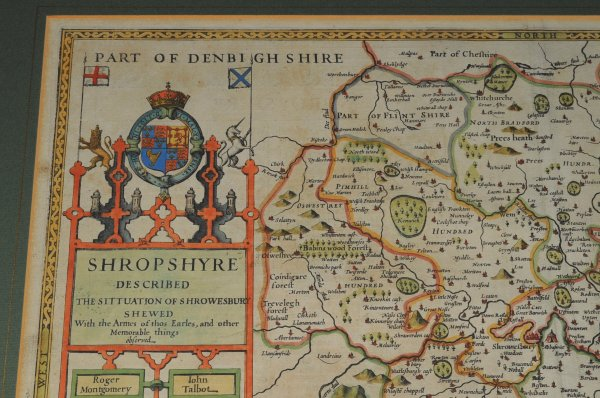 Image for Original Engraved Hand Coloured Map of Shropshire. Described the Sittuation of Shrowesbury shewed, With the Arms of thos Earles, and other things observed...