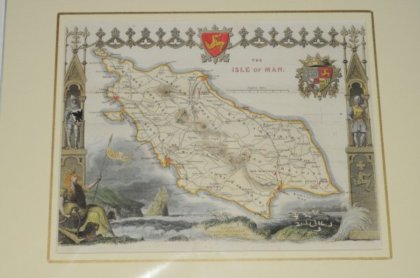 Image for Isle of Man. Map of Isle of Man showing towns, villages, roads and railways.