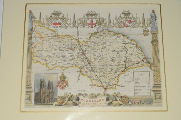 Image for Yorkshire Map of Yorkshire, showing towns, villages, roads and railways.