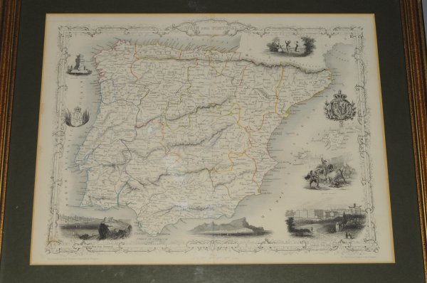 "Image for ""Spain and Portugal."" Antique Engraved Hand-Coloured Map. Spanish, Portuguese, Catalonia, Andalusia, Valencia, Majorca and Minorca. Illustrations of Lisbon, Gibraltar, Belem Castle, Madrid and Bull Fighting drawn & engraved by H. Wrinkles. Map drawn & engraved by J. Rapkin."