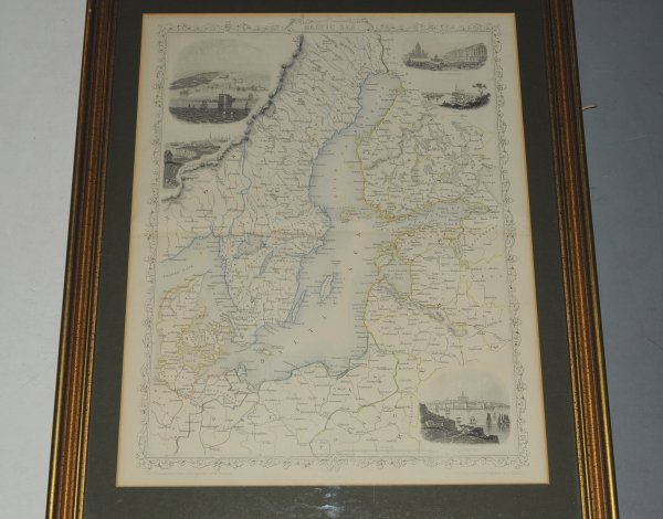 "Image for ""Baltic Sea."" Antique Engraved Hand-Coloured Map. Baltic Sea, Prussia, Sweden, Finland, Denmark, Russia. Illustrations of Kronstadt, St. Petersburg, Helsingfors & Revel drawn & engraved by H. Wrinkles. Map drawn & engraved by J. Rapkin."
