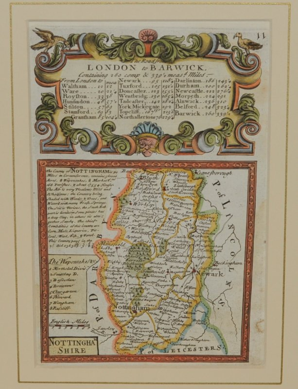 "Image for Attractive miniature Antique county map:  NOTTINGHAMSHIRE.  From: BRITANNIA DEPICTA. or ""Ogilby Improv'd"""