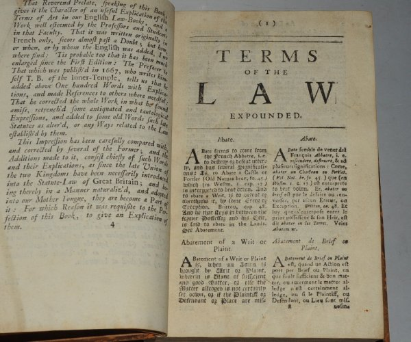 Image for Les Termes De La Ley: Or, Certain difficult and obscure Words and Terms of the Common and Statute Laws of this Realm, now in use, expounded and explained. Corrected and enlarded, with the addition of many other words; particularly of those that have been lately introduced into the Statute Law of Great Britain, Never printed in any other Impression.
