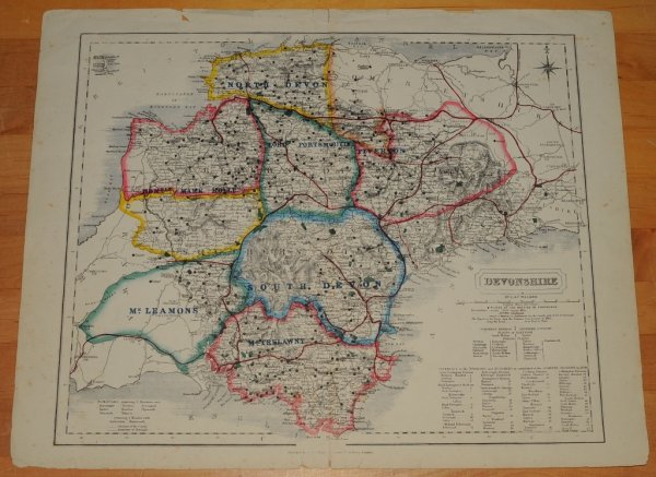 "Image for ORIGINAL ENGRAVED HAND-COLOURED MAP OF Devon. Prepared for ""Hobson's Fox-Hunting Atlas."""