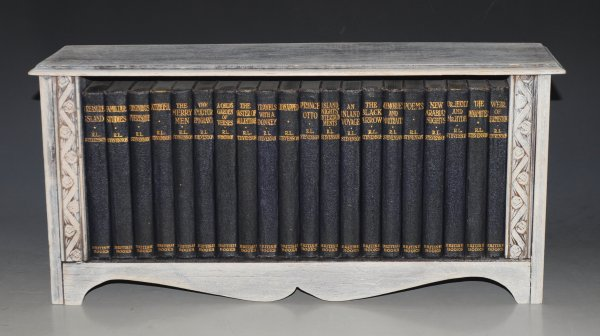 "Image for The Works of Robert Louis Stevenson. With Custom Shelf. 20 Volumes. In Custom Wooden Presentation Shelf. ""British Books"" Edition."