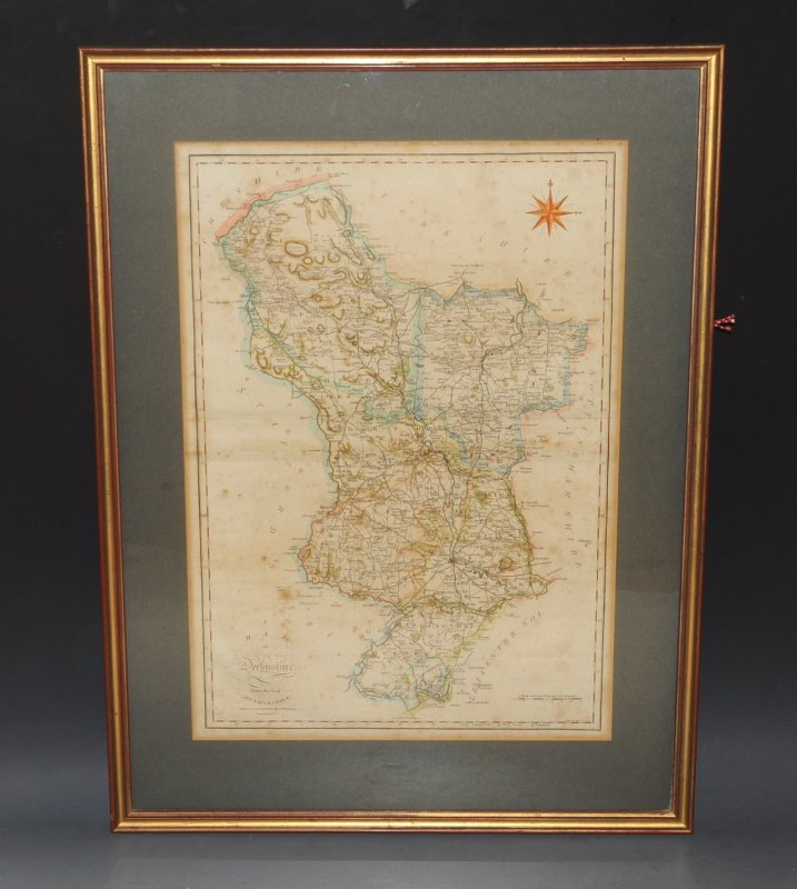 ORIGINAL ENGRAVED MAP OF DERBYSHIRE. A Map of Derbyshire, From the Best Authorities.