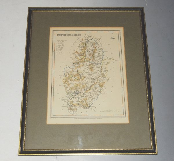 "Image for ORIGINAL ENGRAVED  MAP OF Nottinghamshire. Engraved for LEWIS's  ""Topographical Dictionary"" and drawn by R. Creighton. From: ""AN ATLAS comprising Maps of the Several Counties, divided into Unions…."" Engraved by J. C. Walker."