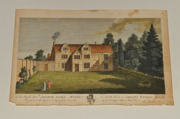 "Image for South Front of Abbots Wooton House. Original Hand Coloured Engraving. ""The Right Hon. Joseph Lord Milton, Engraved at his expense, is respectfully inscribed by his lordships humble servant, the Author (Hutchins), this South Front of Abbots Wooton House."""