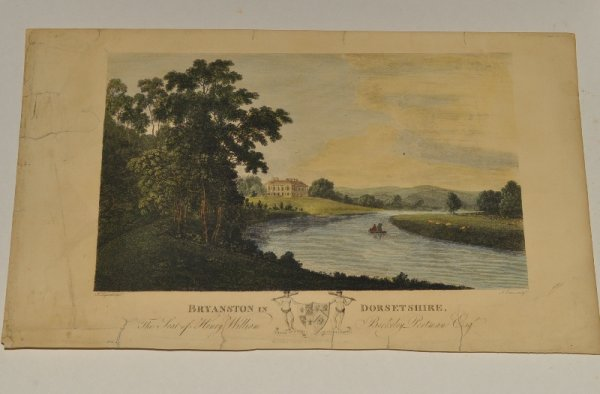 "Image for Bryanston in Dorsetshire (View of). Original Hand Coloured Engraving. ""The Seat of Henry William Berkeley Portman Esq."""