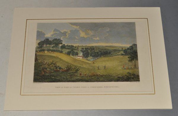 Image for View of Part of Urless Farm in Corscombe Dorsetshire. Original Hand Coloured Engraving. Painted by P.A. Rysbach 1747, Engraved by J. Basire 1815