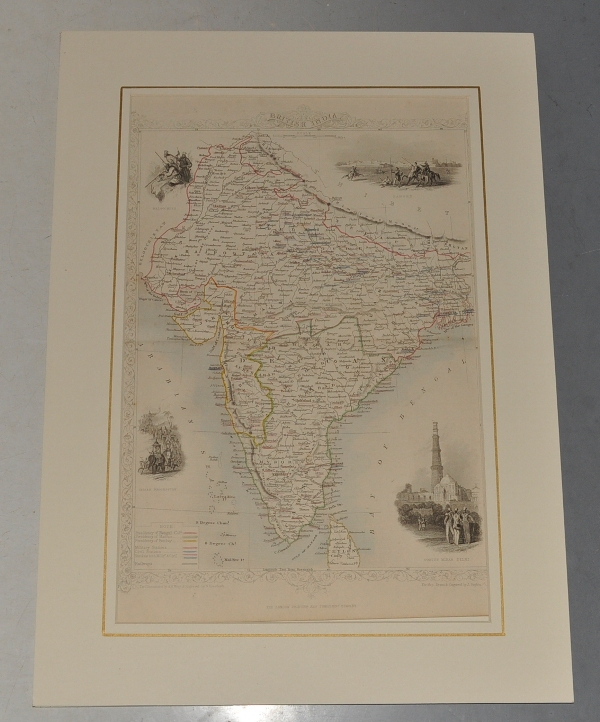 "Image for ""British India."" Antique Engraved Hand-Coloured Map. British India, Arabian Sea, Bay of Bengal, Thibet, Dheli, Hydrabad. Illustrations of Lahore, Cootub Minar, Dehli, Indian Procession and Beloochee's drawn & engraved by H. Wrinkles. Map drawn & engraved by J. Rapkin."