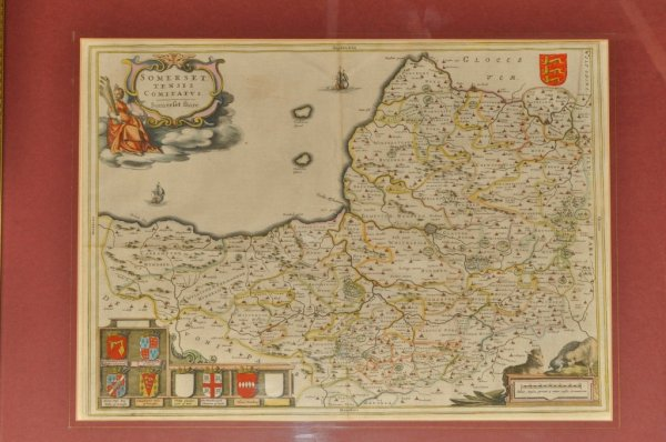 "Image for Original Antique Hand-Coloured Engraved Map of Somerset. Somersetshire. From his ""Novus Atlas""."