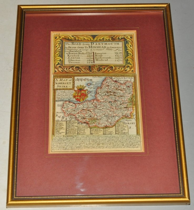 Image for Miniature Original Antique engraved map: A Map of Somersetshire. From: BRITANNIA DEPICTA. Road from Dartmouth in Devonshire to Minhead in Somersetshire. SOMERSET. & Road to Cardiff.
