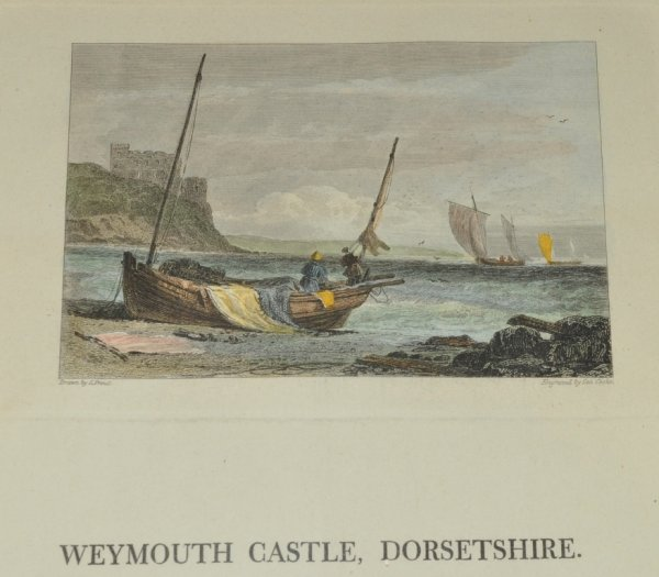 Image for Weymouth Castle, Dorsetshire. Antique Hand Coloured Engraving, With a Historical Description.