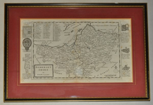 Image for Original Engraved Map of Somerset. SOMERSETSHIRE. Showing Divisions and Hundreds.
