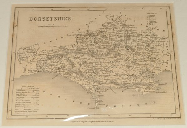 Image for Original Engraved Antique Map of Dorsetshire. Engraved for Dugdale's England and Wales Delineated. Drawn and engraved by J. Archer.