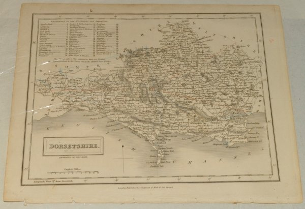 "Image for ORIGINAL ENGRAVED MAP OF DORSETSHIRE. From: ""A New British Atlas"". With maps constructed from the most recent Surveys. With ""Reference to Hundred and Liberties."""