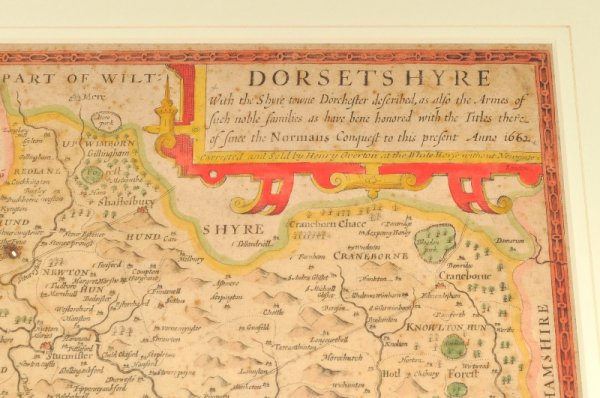 Image for Dorsetshyre. Original engraved antique map of Dorset. With the Shyre town Dorchester described as also the Armes of such noble families as have bene honored with the Titles thereof since the Normans Conquest to this present Anno 1662.