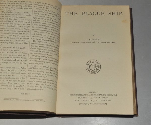"Image for The Plague Ship. Original penny paperback in the ""SPCK Penny Library of Fiction"" series rebound without covers with 17 other titles in the one volume."