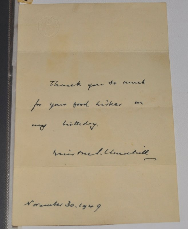 Image for Printed Thank you LETTER from Winston Churchill on House of Commons headed paper