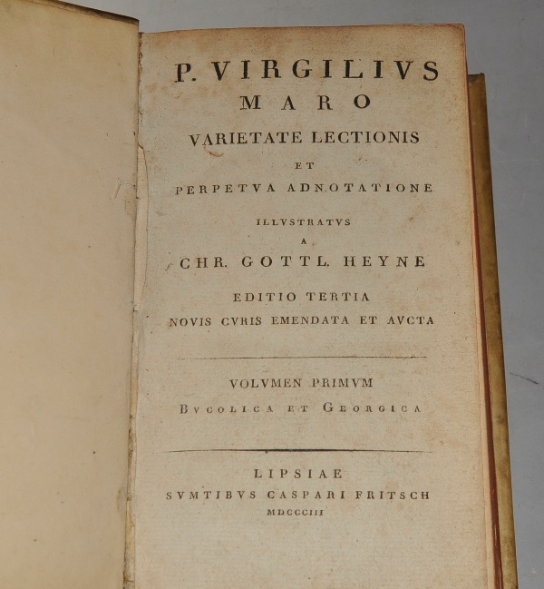 Image for P. Virgilius Maro Varietate Lectionis Et Perpetua Adnotatione. Illustratus a Chr. Gottl. Heyne. Editio Tertia, Novis Curis Emendata et aucta. Bucolica et Georgica; Aeneidis libri I-VI; VII-XII; Carmina Minora et Indices. (A. Virgil variety Reading and constantly registration. When illuminated by Chr. GottI. Heyne. Third edition, Revised and Enlarged. ) In Four Volumes.