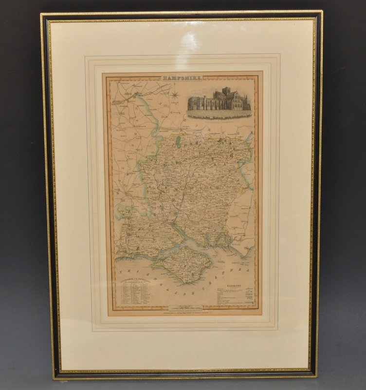 Image for Original Antique Engraved Hand-Coloured Map of Hampshire. With vignette of Winchester Cathedral. Reference to hundreds. Scale in Miles. And Explanation Key.