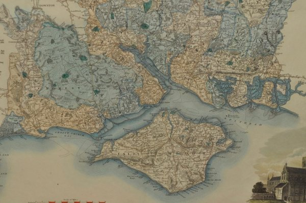 Image for Map of the County of Southampton from an Actual Survery made in the Years 1825 and 1826 Original Antique Engraved Hand-Coloured Map of Hampshire. With Reference to Divisions, Hundreds & Liberties, Explanation and illustrated vignette of Winchester Cathedral.