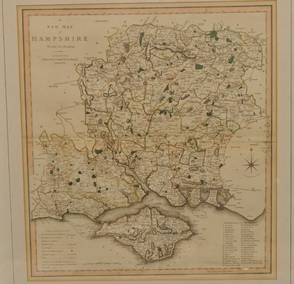 Image for A New Map of Hampshire Divided into Hundreds. Original Antique Engraved Hand-Coloured Map of Hampshire. With Reference and Explanation.