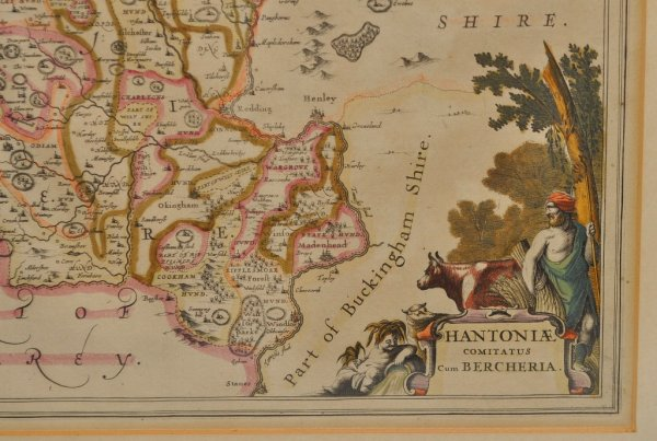 Image for Hantoniae Comitatus Cum Bercheria. Original Double-Sided Antique Engraved Hand-Coloured Map of Hampshire.