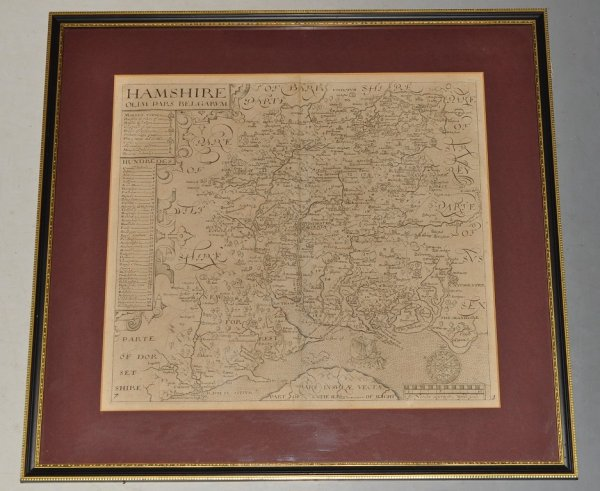 Image for Hamshire Olim Pars Belgarum. Original Antique Engraved Map of Hampshire. With Scale in Miles, Hundreds and Key of Market Towns.