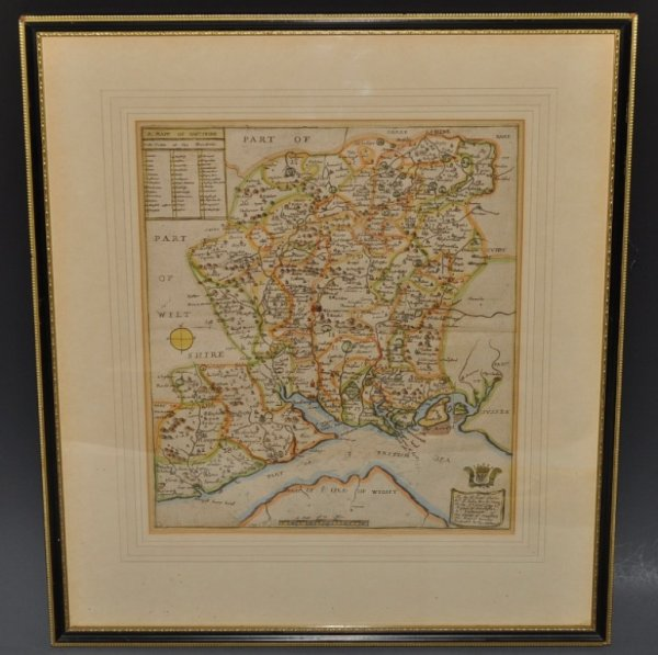 Image for A Mapp of Hantshire. Original Antique Hand Coloured Engraved Map of Hampshire. With Scale in Miles, and a Table of the Hundreds. Dedicated to The Rt. Hon. Charles St. John, Marquis of Winchester.