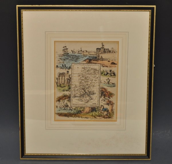 Image for Hampshire. Original Antique Hand Coloured Engraved Map of Hampshire. With decorative surrounding illustrations.
