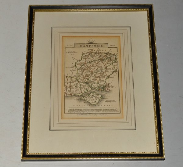 Image for Hampshire. Original Antique Hand Coloured Engraved Map of Hampshire. With distances to London at bottom.