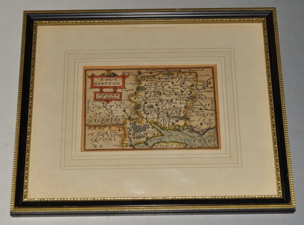 Image for Southampton. Original Antique Hand Coloured Engraved Map of Southampton, Hampshire.