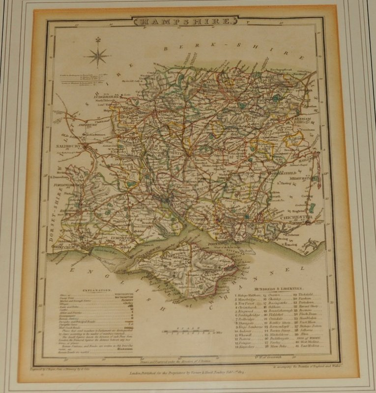 Image for Map of Hampshire. Original Antique Engraved Hand Coloured Map of Hampshire. With Explanation, Distances, and List of Hundreds.