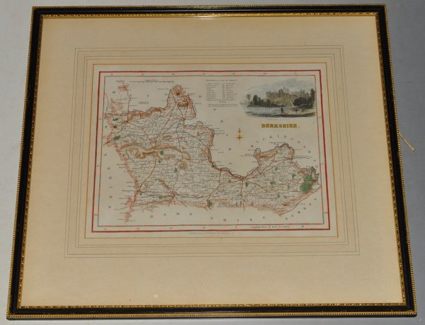 Image for Map of Berkshire. Original Antique Engraved Hand Coloured Map of Berkshire. With Reference to Hundreds and a Vignette of Windsor Castle.