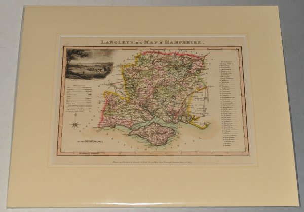 Image for Langley's New Map of Hampshire. Original Antique Engraved Hand Coloured Map of Hampshire. With Illustrated Vignette of Porchester Castle, Explanation and List of Hundreds.