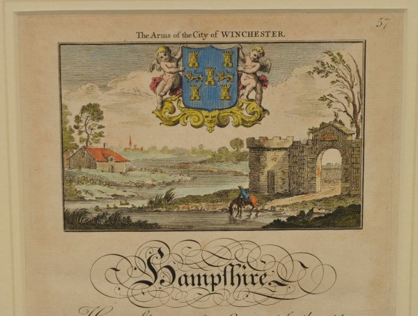 Image for A Map of Hampshire. Original Antique Engraved Hand Coloured Map of Hampshire. With Illustration to Map, Engraved View with Arms of City of Winchester. And a description of the County. Twin plate, double sided & double-glazed.